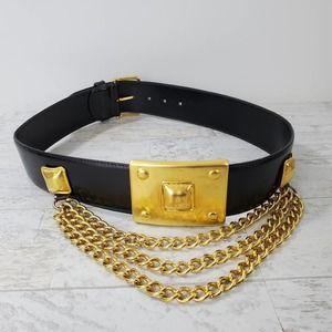 Avignon Leather Belt Chunky Gold Tone Hardware